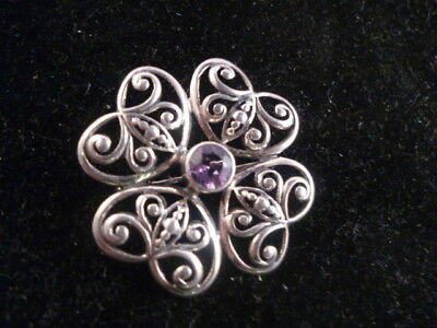 Vintage 925 Silver Ornate Quatrefoil Brooch / Pin with Purple Stone / Glass