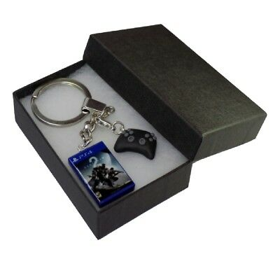 Handmade Fimo PS4 Gaming Keyring Destiny 2 Game & Controller - Gift Boxed