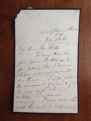 JOHN CARPENTER GARNIER - MP AND 1st CLASS CRICKETER - TWO PAGE SIGNED LETTER