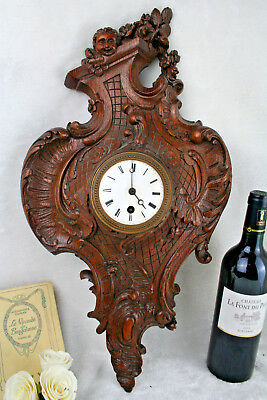 Rare Antique Wood carved black forest 19th Wall clock putti cherub angels