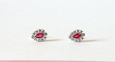 925 Sterling Silver Pink Teardrop Ruby Stud Earrings