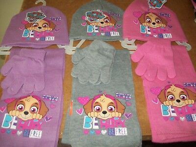 girls paw patrol hat scarf and gloves set in 3 colours
