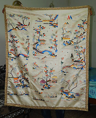 ANTIQUE BEAUTIFUL CHINESE FIGURATIVE HAND EMBROIDERED TEXTILE PANEL 123X102cm