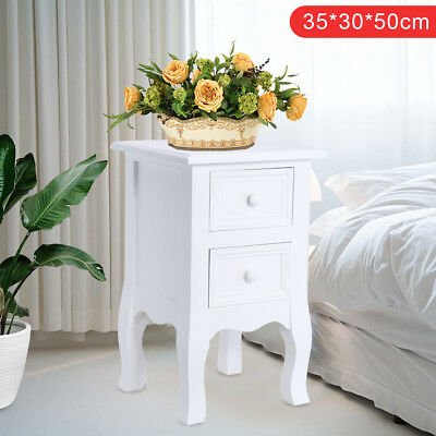 2 Drawer Bedside Table White Bedside Storage Unit Cabinet Shabby Chic Small UK