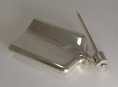 Early Antique English Campaign Sterling Silver Hip Flask With Straw - 1855
