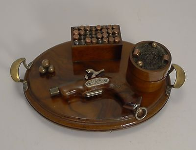 Rare Antique Walnut Desk Set - Gun Theme c.1890