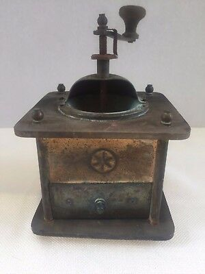 Antique Brass and Wood Coffee Grinder with Nice Embellishment-FANTASTIC PIECE!