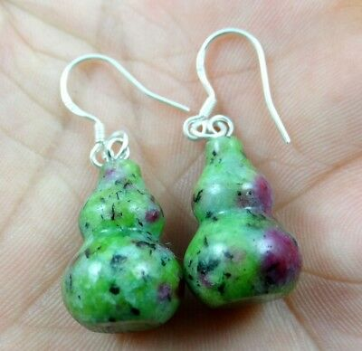 Hand-carved of ruby & zoisite pendant Gemstone Earrings Sliver Hook B6