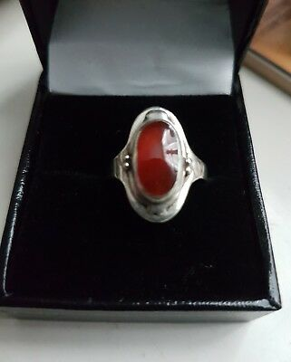 Art Nouveau Silver Ring with Carnelian Stone