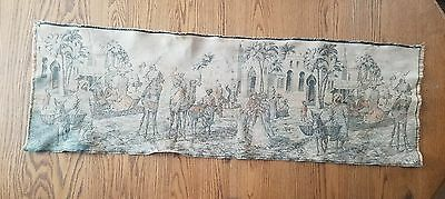 Antique Middle Eastern Tapestry Camels Market Palm Trees Architecture 17.5×54