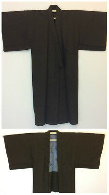 Authentic Japanese brown wool kimono & haori set for men, M, Japan import(I1750)