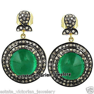 Vintage Estate 3.28Cts Rose Cut Diamond Sterling Silver Emerald Jewelry Earring