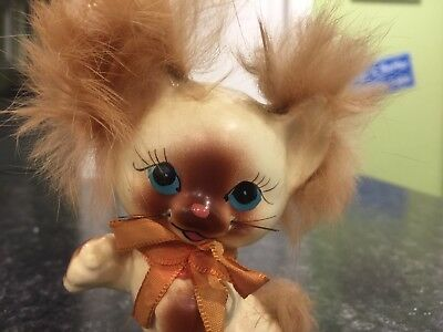 Vintage cute cat with FUR on ears Big Blue Eyes and Bow Japan