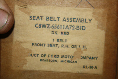 Nos 1968 Mercury Cougar Mustang Red Deluxe Seat Belt C8Wz-65611A72