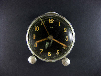 Genuine Antique Swiss Made Oris Mechanical Hand Winding Alarm Clock / Sold As Is