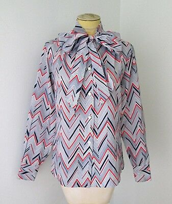 VGC Vtg 70s Red White Blue ZigZag Stripe Silky Polyester Blouse Top Pussy Bow L