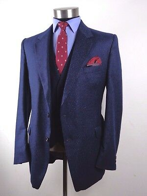 VINTAGE 3 THREE PIECE TOWN  COUNTRY blue pin WORSTED Wool SUIT   44R 38W 32L