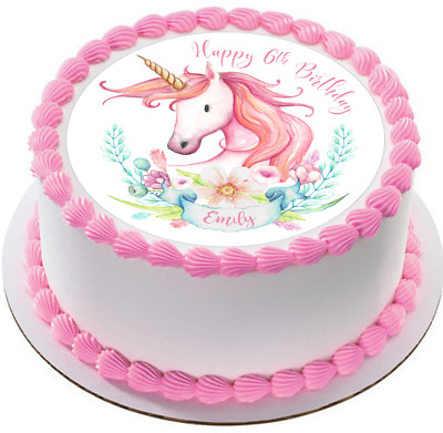 Watercolor Unicorn premium wafer cake toppers girls fairy birthday 1st 2nd 3rd