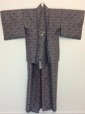 Authentic Japanese grey silk kimono & haori set, Japan import, good c.,M (G1751)