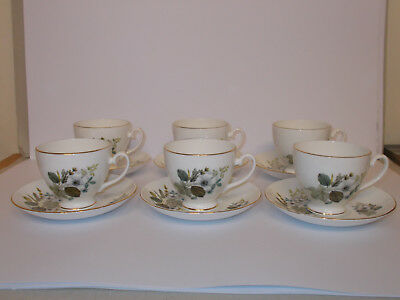 6 x Vintage Royal Grafton Fine Bone China Tea Cups and Saucers Floral Lovely