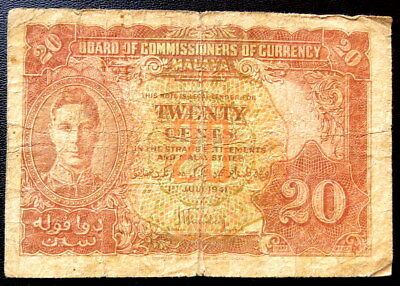 Malaya 20 Cents  King George 1941