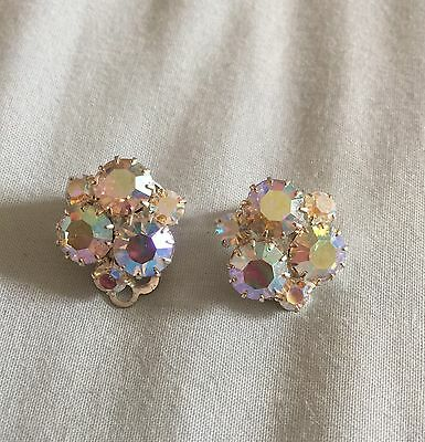 Pretty Vintage AB Crystal Silver Tone Clip On Statement Earrings