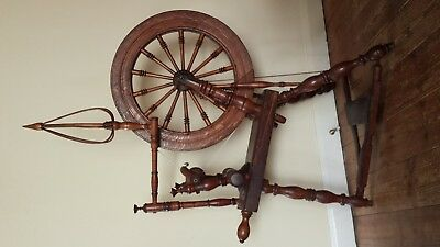 Spinning Wheel, Early, Primitive, Antique American? Birdcage Distaff and 2 Flyer