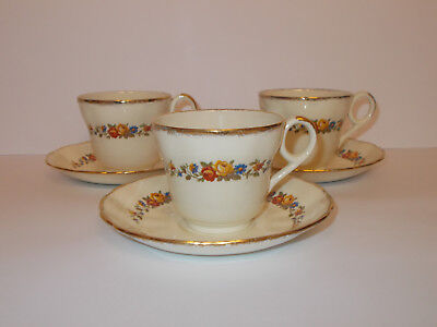 3 x Vintage Grindley Creampetal Cups and Saucers Floral Lovely