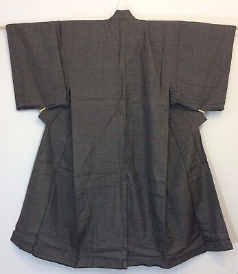 Authentic Japanese grey polyester kimono for men, M, Japan import (G1752)