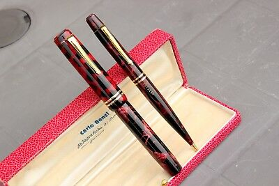 SIAP By COLUMBUS Extra -Fountain Pen+Pencil-RED MARBLE CELLULOID/GOLD-40's - BOX