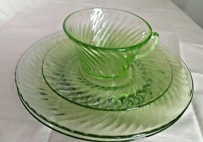 "Green Depression Glass Lot Spiral (2) 8"" Plates (1) Cup & Saucer Jeannette 1928."