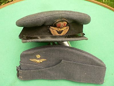 Military WW2 Officers Canadian RAF Side Cap & Officers Peak Hat 1943 Rare.