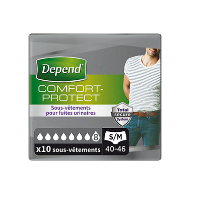 Couches incontinence Depend Comfort Protect Homme, taille S/M
