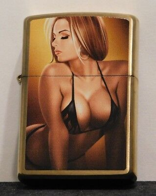 New 2016 Brass Sexy Pinup Zippo Lighter Never Fueled or Fired In The Box