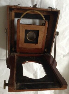 Antique Mahogany Wood & Brass Half Plate Camera Parts For Spares / Repair
