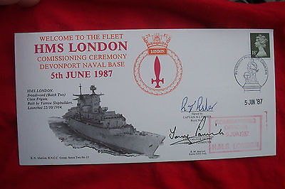 Fdc Signed Stamps Signed Capt R J Fisher Hms London Comission & Mayor Plymouth