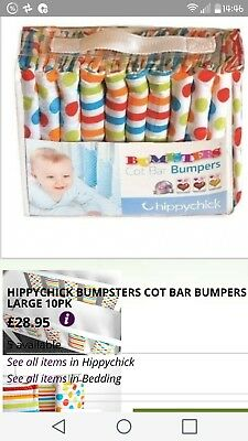 Bumpsters Individual Cot Bar Bumpers multicolour stripes and spots