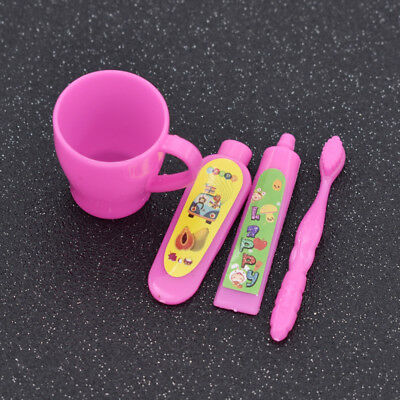 Doll Toy Tooth Cup Toothbrush Toothpaste for Barbie Doll Girl Lovely Gifts 1 Set