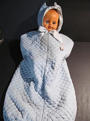 Vintage Quilted Bunting Bag -Baby Blue -  Fleece Lined With Ears On Hood - Vgc