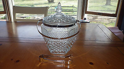 Anchor Hocking Wexford Lidded Ice Bucket with Handle and Tongs Mint Condition