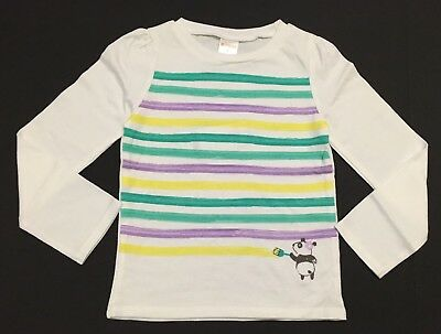 NWT Gymboree Girls Long Sleeve White Panda Painting Tee Size 4T