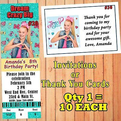JoJo Siwa Birthday Invitations 10 Ea With Env Or Thank You Cards Personalized
