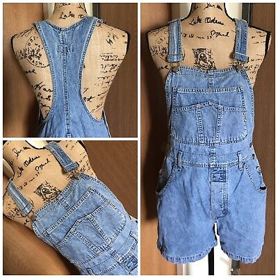 VINTAGE GUESS Womens Large Denim Overalls Shorts Workwear Hip Hop Grunge Rare
