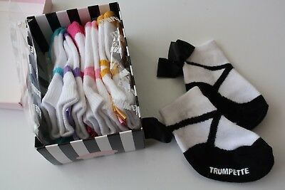 New with box Trumpette Ballerina socks with bows, 6 pairs, 0-12 months
