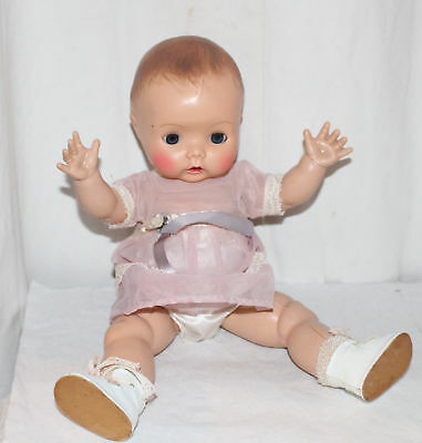 Vintage Baby Toddler Doll Molded Hair Thin Hard Plastic Dressed