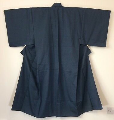 Authentic Japanese blue silk blend kimono for men, large, Japan import (E1755)