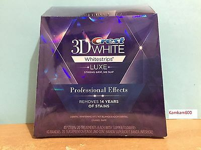 Crest 3D WHITE Whitestrips LUXE Whitening Professional Effects 20 Pouches 40 S