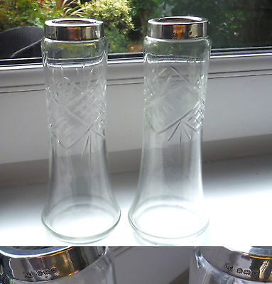 Silver Mounted Cut Glass Vases/candleholders-Birm.1927 - Matching Pair    #