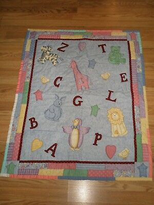 "Hand Crafted ABC Animal Crib Quilt baby blanket 34"" x 43"" VGC"