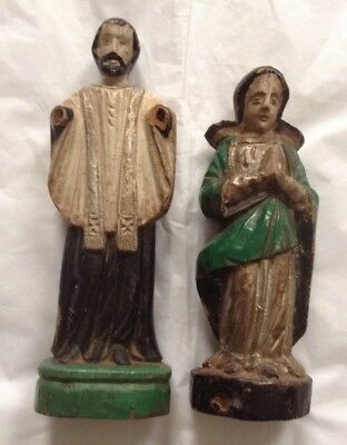 19thc Goa Indo Portuguese Carved Wooden  Santos Figures